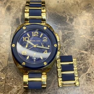Blue and gold Michael Kors watch